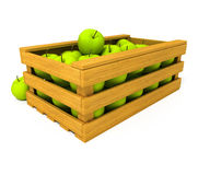 Wooden box with apple fruits isolated Stock Photos
