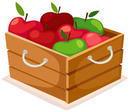 Wooden box of apples. Illustration of isolated wooden box of apples Stock Photo