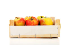 Wooden box of apples Royalty Free Stock Photos