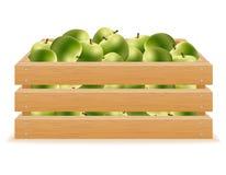 Wooden box of apples vector illustration Stock Photo