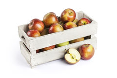 Wooden box of apples Stock Photography
