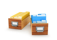 Wooden box with archived files and folders, isolated on white ba Stock Photography