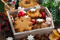 Wooden box with assorted Christmas cookies, spices Royalty Free Stock Photography