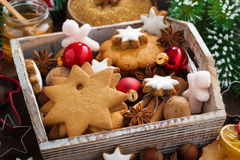 Wooden box with assorted Christmas cookies, spices Stock Image
