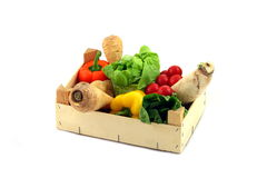 Wooden box of assorted vegetables Royalty Free Stock Photography