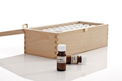 Wooden box with Bach flower remedies Stock Photo