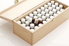 Wooden box with Bach flower remedies Stock Image