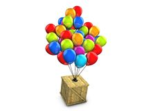 Wooden box balloon delivery Royalty Free Stock Images