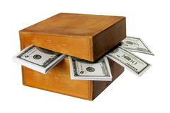 Wooden Box with Bank Notes Stock Photography