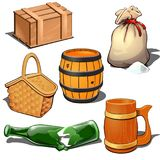 Wooden box, barrel, canvas sack with bulk product, picnic basket, broken bottle and beer mug Thematic six icons isolated. Wooden box, barrel, canvas sack with vector illustration