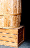 Wooden box and barrel Royalty Free Stock Photography