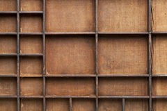 Wooden box with bins Royalty Free Stock Images
