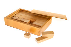 Wooden box with blocs Stock Photo