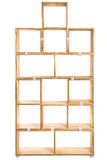 Wooden box or bookshelf background. Wooden kit shelf isolated on white background. Modren wooden furniture for office. Wooden module shelf for home Stock Photo