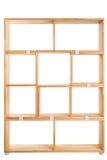 Wooden box or bookshelf background. Wooden kit shelf isolated on white background. Modren wooden furniture for office. Wooden module shelf for home Royalty Free Stock Photo