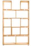 Wooden box or bookshelf background. Wooden kit shelf isolated on white background. Modren wooden furniture for office. Wooden module shelf for home Stock Photography