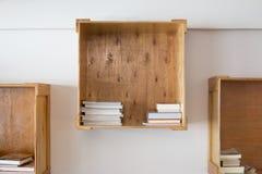 Wooden box for bookshelf. Royalty Free Stock Photo
