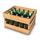 Wooden box with bottles Royalty Free Stock Photography