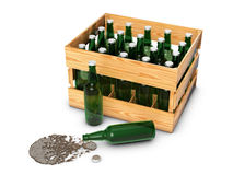 Wooden box with bottles Royalty Free Stock Photos