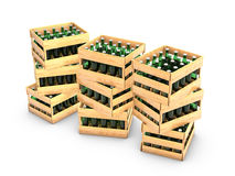 Wooden box with bottles Stock Photography