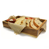 Wooden box with brad slices. Stock Image