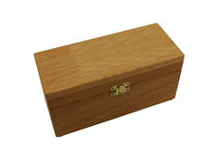 Wooden box with brass catch and lid closed Stock Photo