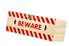 Wooden Box with Brass Clasp and Word Beware Royalty Free Stock Photo