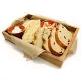 Wooden box with bread slices. Stock Photography