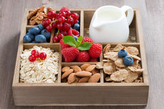 Wooden box with breakfast items - oatmeal, granola, nuts, berry. Wooden box with breakfast items - oatmeal, granola, nuts, berries and milk on table, horizontal Royalty Free Stock Images