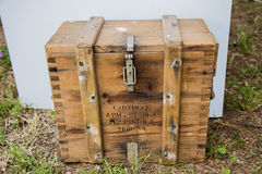 Wooden box for bullets Stock Photo