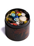 Wooden box of buttons Royalty Free Stock Photography