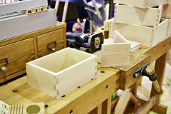 Wooden box in carpenter workshop Stock Photos