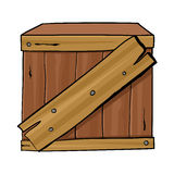 Wooden Box. Cartoon illustration of a wooden box Royalty Free Stock Image