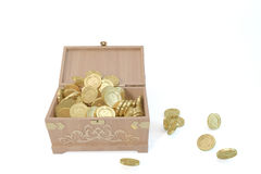 Wooden BOX with Cataclysm Database and Gold coins. Open wooden box lid, gold dust Royalty Free Stock Photography