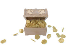Wooden BOX with Cataclysm Database and Gold coins. Open Wooden BOX with Cataclysm Database show Gold coins Stock Image