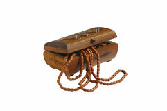 Wooden box with ceramic necklace Royalty Free Stock Image