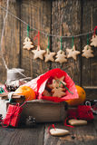 Wooden box with Christmas cookies and gifts. Preparations for ho Royalty Free Stock Image