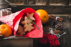 Wooden box with Christmas cookies and gifts. Preparations for ho Stock Photography