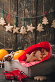 Wooden box with Christmas cookies and gifts. Preparations for ho Stock Image