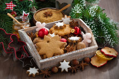 Wooden box with Christmas cookies on the table. Horizontal Royalty Free Stock Image