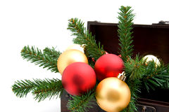 Wooden box with christmas decoration Stock Image