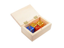 Wooden box with christmas gift Stock Image