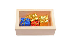 Wooden box with christmas gift Royalty Free Stock Image