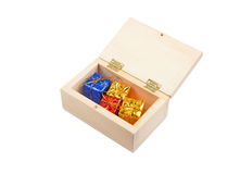 Wooden box with christmas gift Royalty Free Stock Images