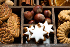 wooden box with Christmas sweets and spices, top view Stock Photography