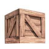 Wooden box. Close up of wooden box on white background. Clipping path included Stock Images