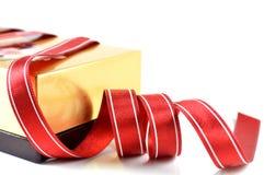 Wooden box and cloth ribbon Royalty Free Stock Images