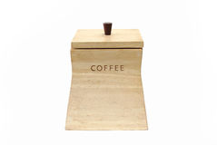 Wooden Box for coffee beans. On white background Royalty Free Stock Photography