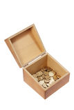 Wooden Box with Coins Stock Images