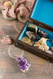 Wooden box with collection of rocks and minerals Stock Photos